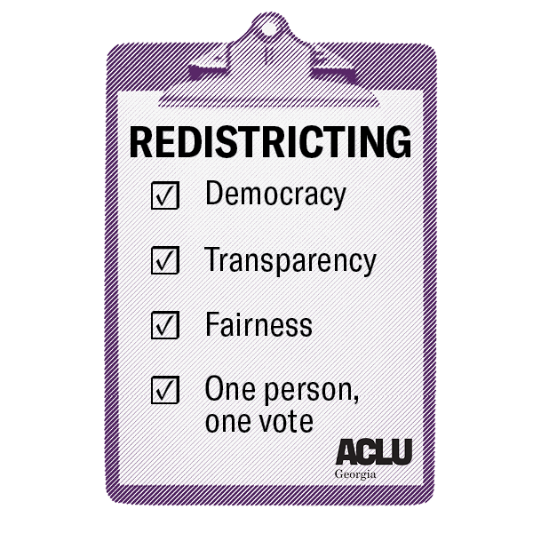 Redistricting. Democracy. Transparency. Fairness. One person, one vote.